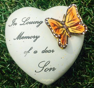 8cm In Loving Memory of a Dear SON HEART with Butterfly Grave Stone 846478